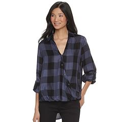 Women's Rock & Republic® Plaid Buttoned Crossover Shirt