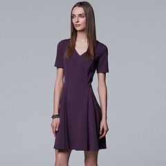 Women's Simply Vera Vera Wang Solid Ponte Fit & Flare Dress
