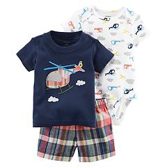 Baby Boy Carter's Helicopter Bodysuit, Embroidered Tee & Plaid Shorts Set