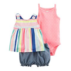 Baby Girl Carter's Striped Tank Top, Polka-Dot Bodysuit & Chambray Shorts Set