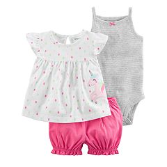 Baby Girl Carter's Striped Bodysuit, Unicorn Top & Short Set