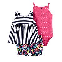 Baby Girl Carter's Striped Dress, Polka-Dot Bodysuit & Floral Shorts Set