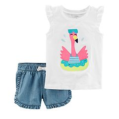 Baby Girl Carter's Flamingo Flutter Top & Ruffled Chambray Shorts Set