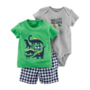 "Baby Boy Carter's Dinosaur Tee, ""Mighty Awesome"" Bodysuit & Checkered Shorts Set"