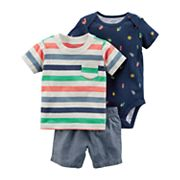 Baby Boy Carter's Bug Bodysuit, Striped Tee & Chambray Shorts Set
