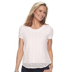 Petite Croft & Barrow® Lace Front Tee