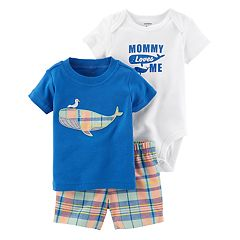 Baby Boy Carter's Whale Applique Tee, Bodysuit & Shorts Set