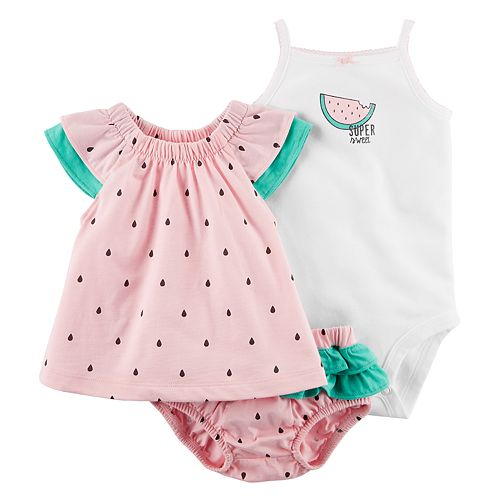 f5b4a8dc6 Baby Girl Carter's Watermelon Tank Top, Bloomers & Bodysuit Set