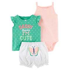 Baby Girl Carter's 'Daddy Thinks I'm Cute' Polka-Dot Top, Striped Bodysuit & Butterfly Shorts Set