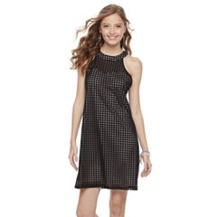Juniors' Candie's® Grid Halter Shift Dress