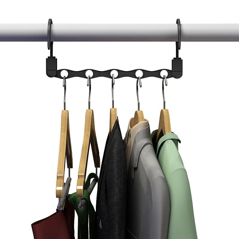 Portsmouth Home Space Saving Closet Hanger Organizer, Black, HANGERS Enjoy the space-saving capabilities of these Portsmouth Home closet hanger organizer.FEATURES 11.25 H x 3.125 W x 3 D Can hold up to 5 hangers CONSTRUCTION & CARE Plastic Spot clean  Color: Black. Gender: unisex. Age Group: adult.