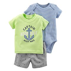 Baby Boy Carter's Striped Bodysuit, 'Captain Adorable' Graphic Tee & Nautical Shorts Set