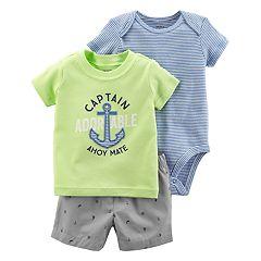 Baby Boy Carter's Striped Bodysuit, 'Captain Adorable' Graphic Tee & Nautical Shorts Set