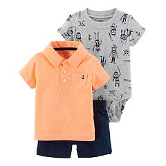 Baby Boy Carter's Pirate Bodysuit, Polo & Plaid Shorts Set