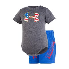 Baby Boy Under Armour Americana Logo Graphic Bodysuit & Shorts Set