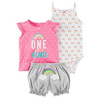 Baby Girl Carter's Graphic Tee, Rainbow Bodysuit & Embroidered Bubble Shorts Set