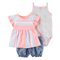 Baby Girl Carter's Striped Flutter Top, Ditsy Floral Bodysuit & Chambray Shorts Set