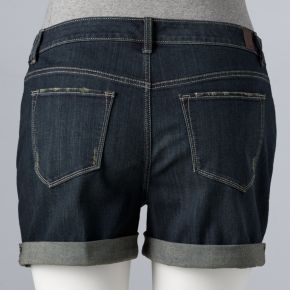 Plus Size Simply Vera Vera Wang Roll-Cuff Jean Shorts