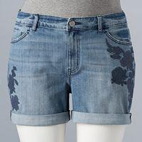 Plus Size Simply Vera Vera Wang Roll-Cuff Jean Shorts
