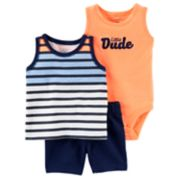 "Baby Boy Carter's Striped Tank Top, ""Little Dude"" Bodysuit & Shorts Set"