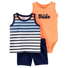 Baby Boy Carter's Striped Tank Top, 'Little Dude' Bodysuit & Shorts Set