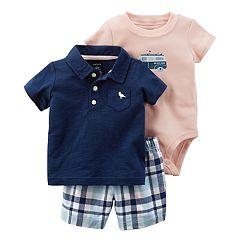 Baby Boy Carter's Polo, 'Beach Bum' Bodysuit & Plaid Shorts Set