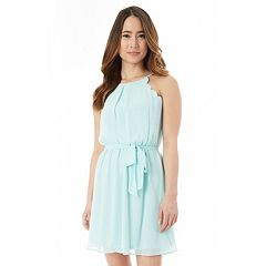 Juniors' IZ Byer Belted Scallop Skater Dress