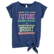 "Toddler Girl OshKosh B'gosh® ""My Future Is Bright"" Graphic Knot-Front Tee"