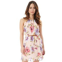 Juniors' IZ Byer Belted Floral Halter Skater Dress