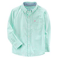 Baby Boy Carter's Mint Gingham Button-Down Shirt
