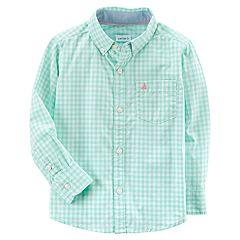 Baby Boy Carter's Mint Gingham Button-Down Shirt
