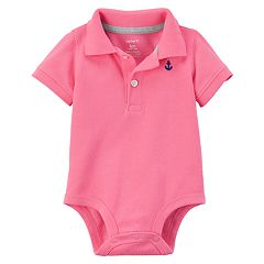Baby Boy Carter's Pink Polo Bodysuit