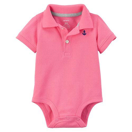 Baby Boy Carter's Pink Polo Bodysuit