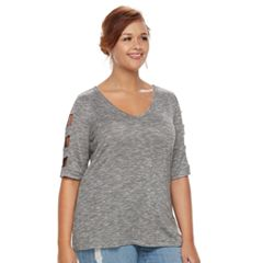 Plus Size Jennifer Lopez Caged Sleeve Tee