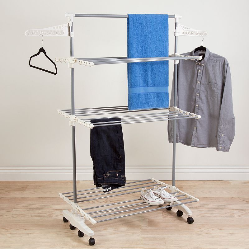 Portsmouth Home Rolling Heavy Duty 3-Tier Laundry Drying Rack, Adult Unisex, Size: DRY RACK, Silver Enjoy wrinkle-free drying, thanks to this Portsmouth Home heavy-duty laundry drying rack. FEATURES 4.5 H x 8 W x 35 D Holds up to 40 lbs. CONSTRUCTION & CARE Stainless steel, plastic Spot clean  Size: DRY RACK. Color: Silver. Gender: unisex. Age Group: adult. Material: Metal.