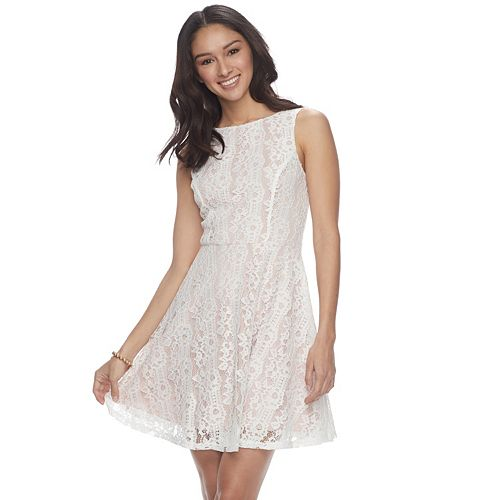 a7b6cd46dab Juniors  Speechless Lace Skater Dress