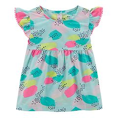 Toddler Girl Carter's Splatter Pom-Trim Top
