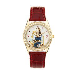 Disney's Beauty and the Beast Princess Belle Women's Crystal Leather Watch