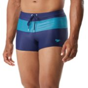 Men's Speedo Striped Square-Leg Hybrid Fitness Swim Shorts