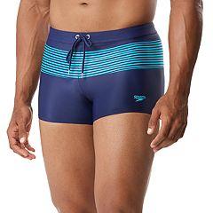 Men's Speedo Striped Square-Leg Hybrid Fitness Swim Shorts