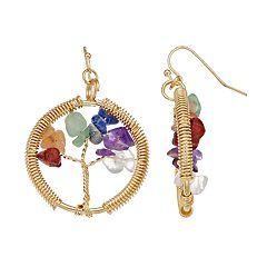 Believe In Nickel Free Tree of Life Chain-Wrapped Drop Earrings