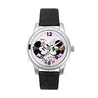 Disney's Mickey & Minnie Mouse Women's Crystal Leather Watch