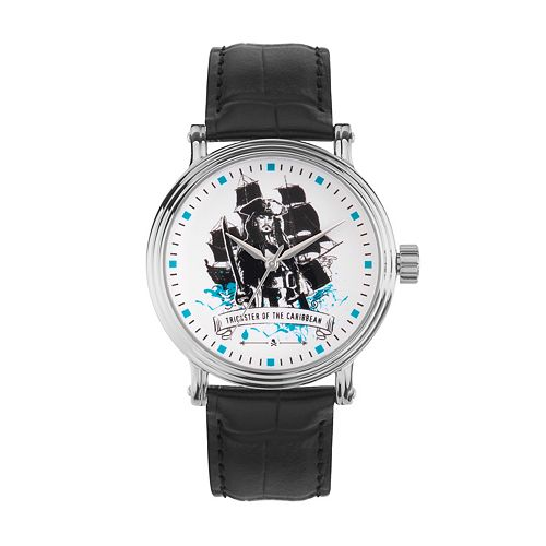 "Disney's Pirates Of The Caribbean ""Trickster of the Caribbean"" Men's Leather Watch"