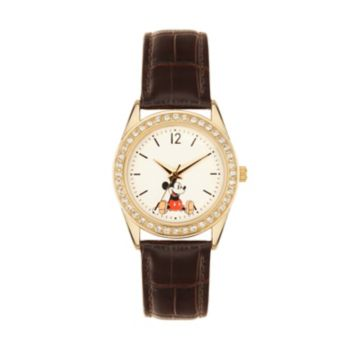 Disney 's Mickey Mouse Women's Crystal Leather Watch