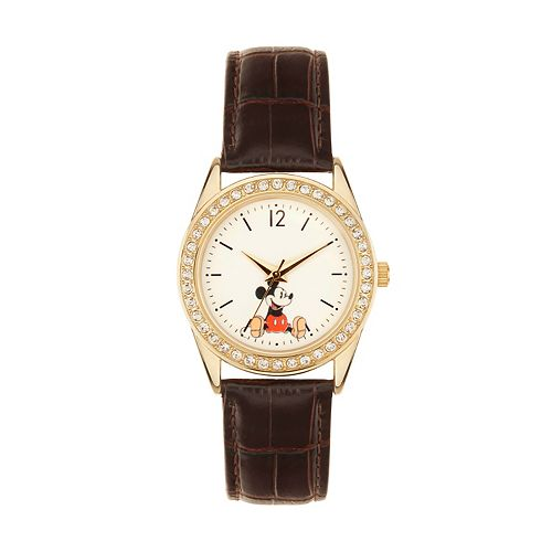 Disney's Mickey Mouse Women's Crystal Leather Watch