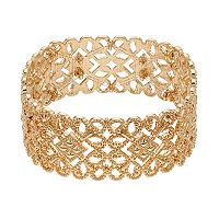 Gold Tone Filigree Stretch Bracelet