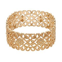 Gold Tone Filigree Stretch Bracelet