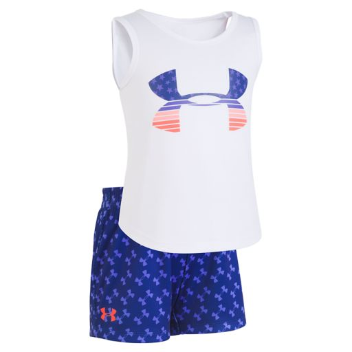 Girls 4-6x Under ArmourFlagged Stretch Top & Shorts Set