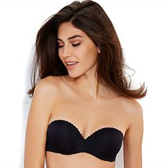 2337df39dfc Lily of France Bras  Gel Touch Strapless Push-Up Bra 2111121. Black White  Barely Beige