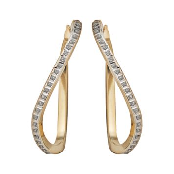 Diamond Fascination® 14k Gold Diamond Accent Wavy Hoop Earrings